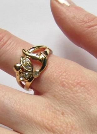 🏵️элегантное позолоченное кольцо, 18 р., новое! арт.3313 - 16 фото