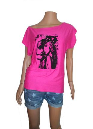 Розовая футболка, удлиненная спинка