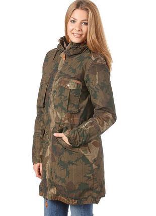 Женская, куртка, парка, 2 в 1, демисезон, весна, осень, камуфляж, размер xl