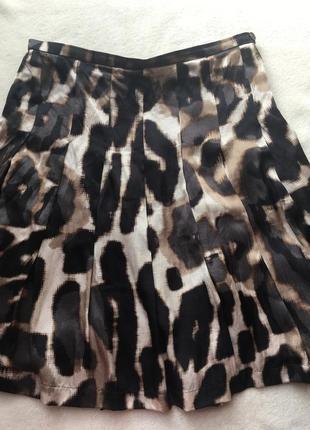 Шелковая юбка в леопардовый принт {м-44р}