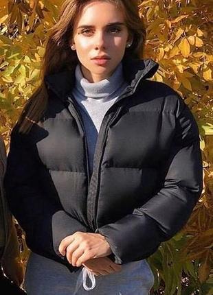Новая куртка, пуховик зефирка чёрная5 фото