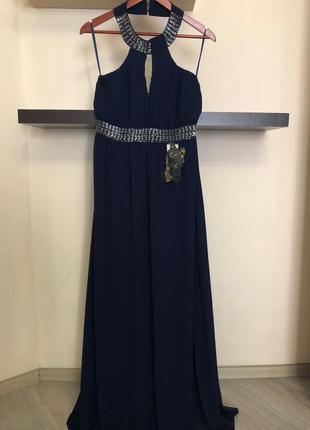 Шикарное длинное вечернее платье. платье на выпускной. нарядное платье.  р-р 46-48