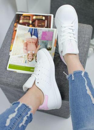 Шикарные кроссовки adidas stan smith в бело-розовом цвете (36-40)