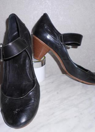 Salamander кожаные туфли с широкой пряжкой, пр-во италия, р.40