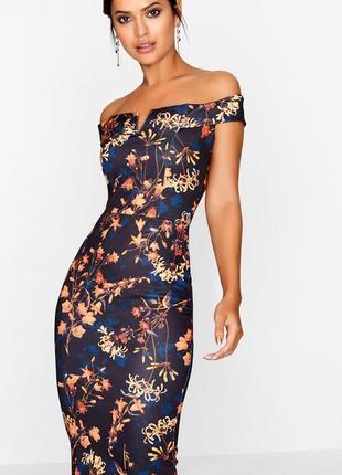 Неопреновое платье с цветочным принтом, платье с открытыми плечами