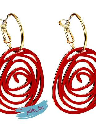 Серьги красная спираль, смотрите больше бижутерии в моих объявлениях