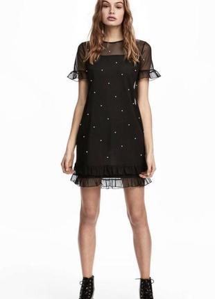 H&m чёрное платье сеточкой с бусинками