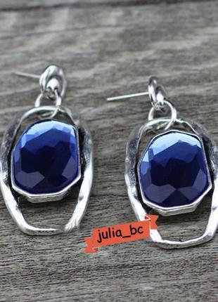Серьги в винтажном стиле синий камень, смотрите больше бижутерии в моих объявлениях