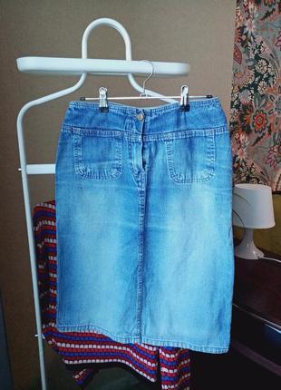 Джинсовая прямая юбка