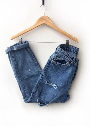 Mom джинсы с высокой посадкой и дырками
