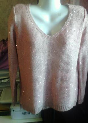 Классный свитер esmara нежно розового персикового цвета пайетки размер 50-52укр