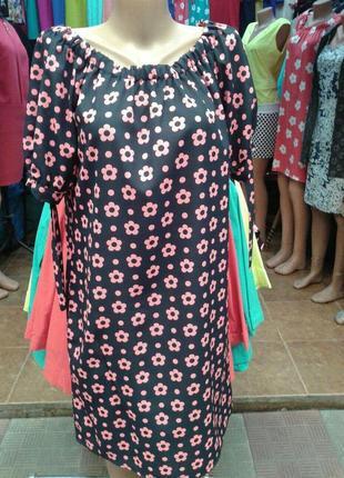 Летнее платье свободного кроя в мелкий цветок больших размеров, батал
