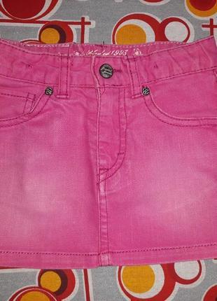 Розовая джинсовая юбка ,2-3г