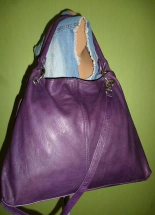Стильная большая сумка натуральная мраморная кожа borse in pelle италия5 фото