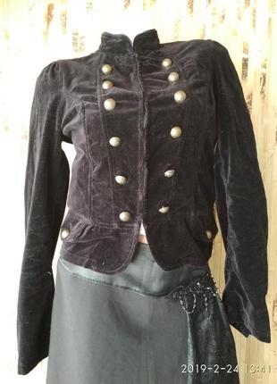 Пиджак блейзер жакет велюровый черного цвета