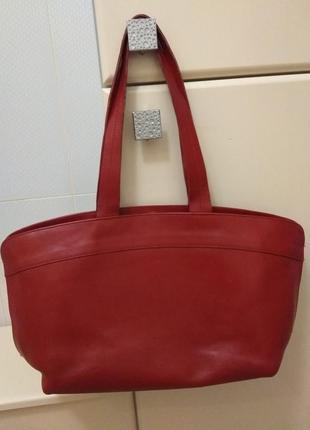 Большая красная кожаная итальянская сумка furla  оригинал