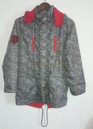 Подростковая куртка парка ветровка на флисе рост 158