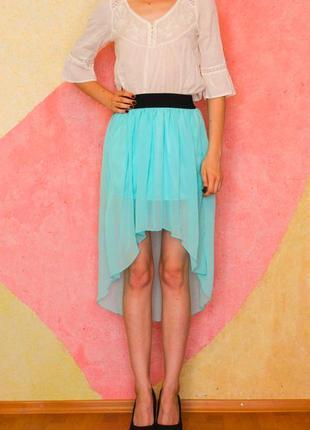 Асиммитричная бирюзовая цвета морской волны длинная шифоновая юбка