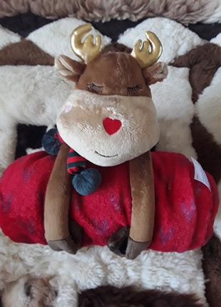 Плюшевый плед сердечки  и мягкая игрушка олень, немецкое качество  c&a, cunda