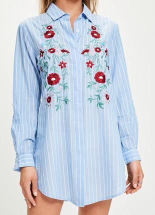 Натуральне хлопкове плаття -сорочка з вишивкою  missguided є р 6,8,12,14