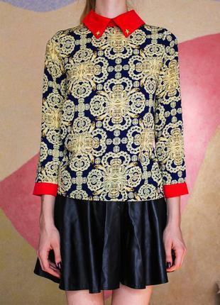 Яркая блуза рубашка с восточным принтом канат красный острый воротничек и манжеты