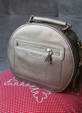 Женская круглая сумочка клатч бронза