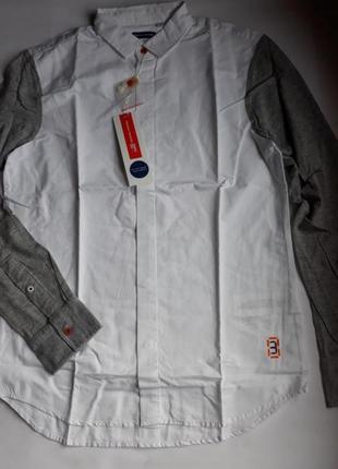 Рубашка на парня с трикотажными рукавами от известного бренда original marines.12-13 лет.