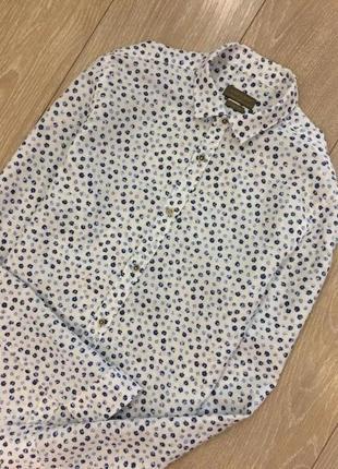 Рубашка в мелкий цветок лён котон zara