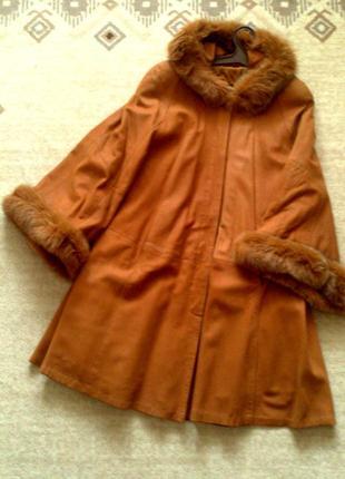 36-42р. замшевое пальто-свингер с капюшоном, кожа мех
