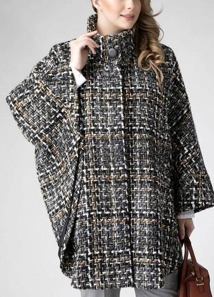 38-46р. легкое пальто-пончо-плащ с капюшоном, на пуговицах