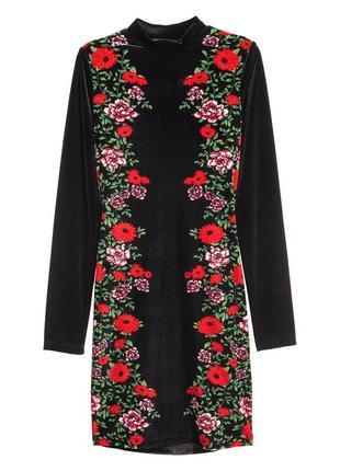 Роскошное велюровое платье h&m в цветочный принт! розы! качество!