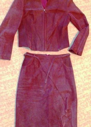 36-38р. дизайнерский кожаный костюм, пиджак и юбка