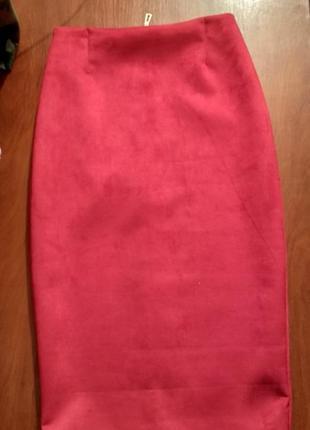 Замшева юбка карандаш2 фото