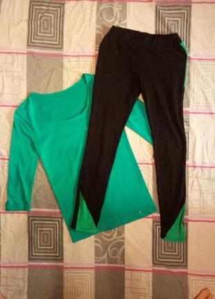 Женский спортивный черно-бирюзовый комплект, футболка и легенсы