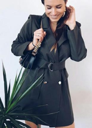 Стильное платье-пиджак с поясом/хаки
