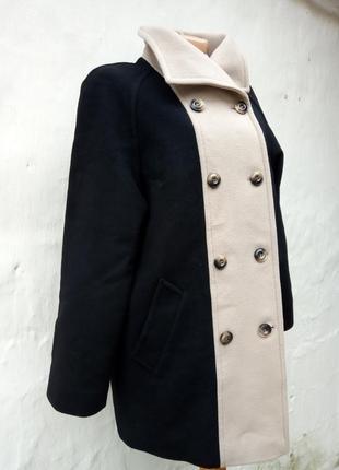 Шикарное стильное черное,бежевое теплое шерстяное пальто windsmoor,кашемир,шолк,жакет.