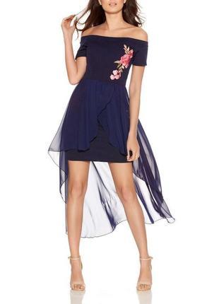 Коктейльное платье вечернее с вышивкой оголенные плечи на выпускной