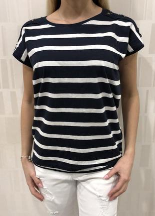 Полосатая футболка с вышивкой. reserved. размеры уточняйте.