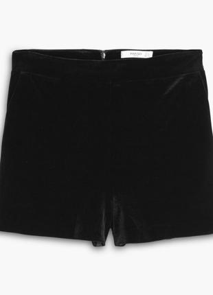 Крутые черные велюровые шорты с завышенной талией mango