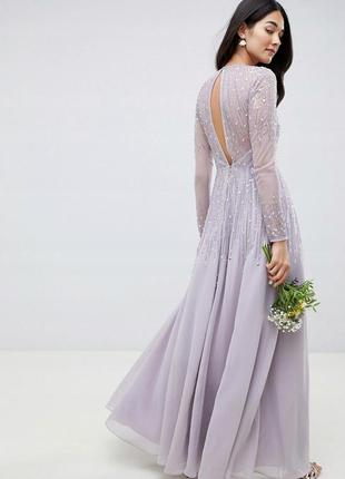 Asos design неймовірна лавандова вишита бісером сукня