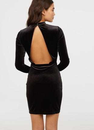 Divided h&m нарядное вечернее бархатное велюровое черное облегающее платье