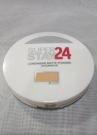 Maybelline superstay 24hr waterproof powder водостойкая пудра,21nude,