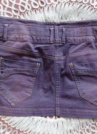 Джинсовая мини юбка miss poem сиреневый цвет короткая юбка