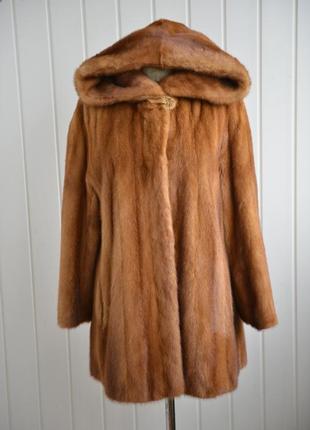 Норковая шуба с капюшоном saga mink