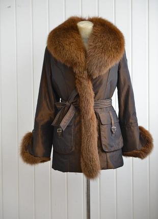 Зимняя куртка с мехом песца и подкладкой из меха кролика