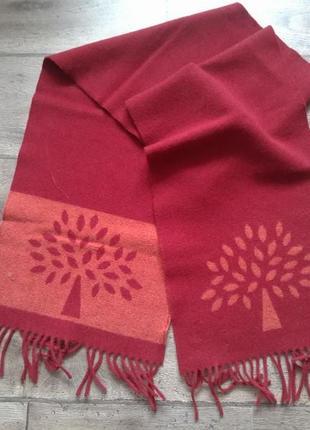 100% шерсть стильный шарф mulberry. оригинал.
