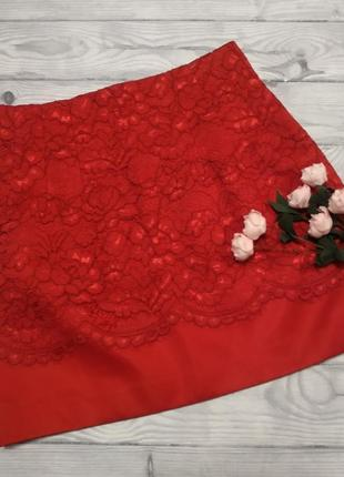 Ажурная юбка красного цвета1