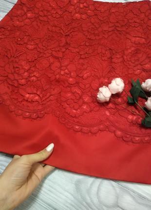 Ажурная юбка красного цвета2