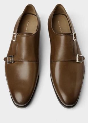 Классические полностью кожаные мужские туфли zara, коричнево цвета. размер: 40, 41, 42