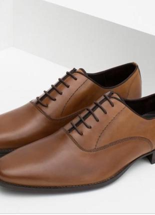 Стильные классические полностью кожаные мужские туфли zara, коричнево цвета